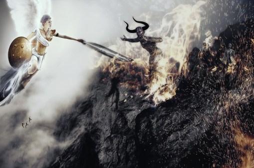 天使, 悪魔, 終了時刻, 予言, 黙示録, Biebel, 悪, デーモン, 翼, 火, 空, 暴力的な