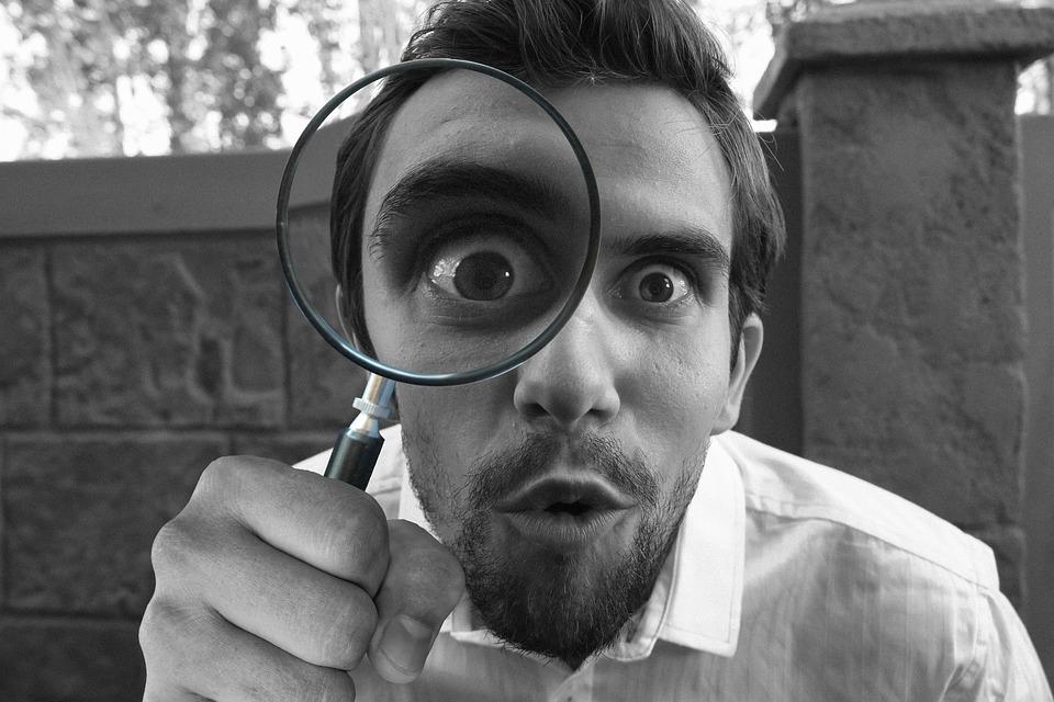 拡大鏡, ガラス, 探偵, 探している, レンズ, 証拠, つながる, 調査, 研究, 眼球, フォーカス