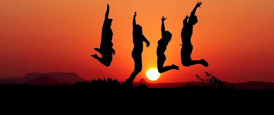 Tramonto, Salto, Sport, Young, Felice, Gli Amici