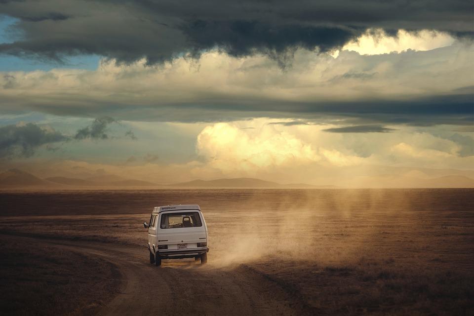 風景, パス, 車, ほこり, 空, 雲, 日没