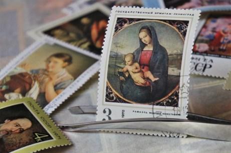 Philately, 聖母, Raffaello, 郵便切手, シール, クローズ アップ, 送信