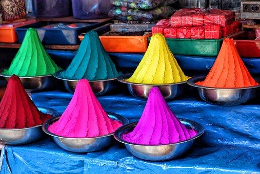 Farbpulver, Holipulver, Holi, 色, インド