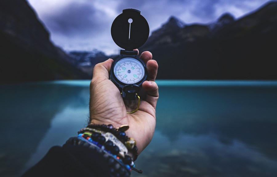 Compass, Hand, Lake, Adventure, Exploration, Navigate