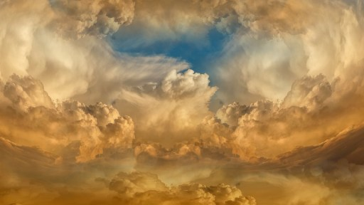 雲, 天, 空, 強力な, 神様, ゴールド, 青, 天使のような, 永遠, 平和, 自由, 茶色の空に