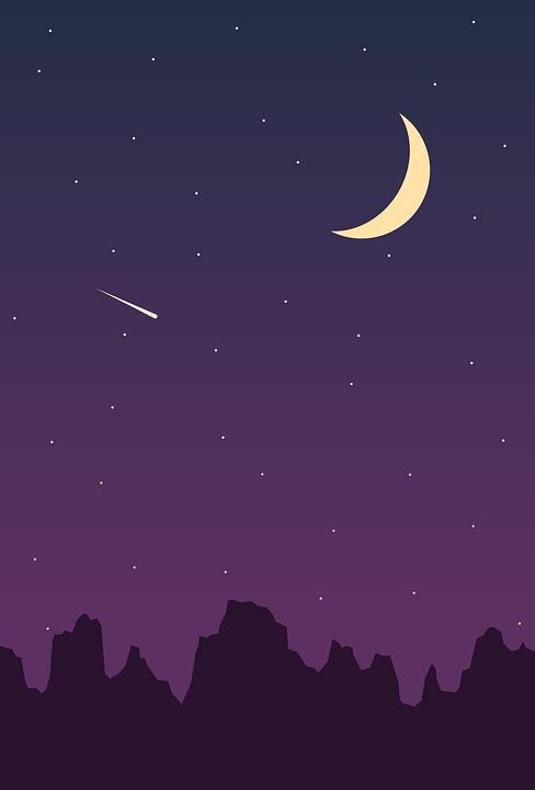 Langit Malam Png : langit, malam, Langit, Malam, Bintang, Bulan, Gambar, Vektor, Gratis, Pixabay
