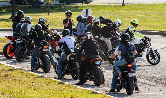 Motards, Personnes, Motos, Amis