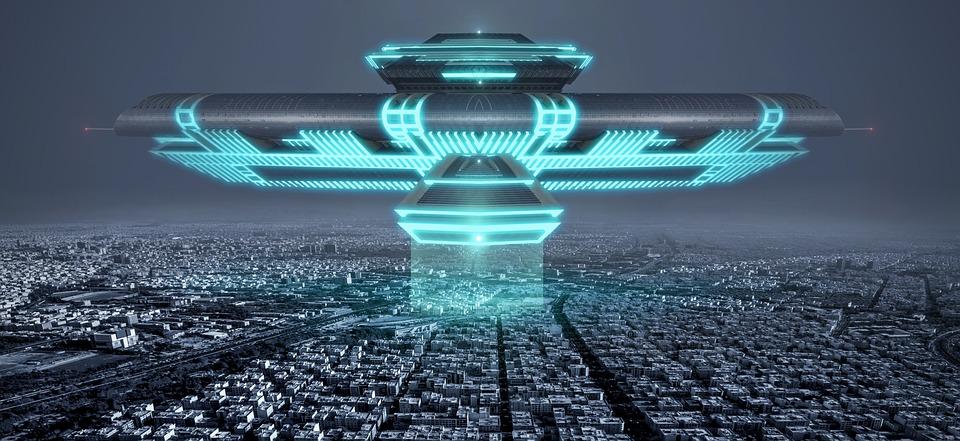 飛行物体, 市, Ufo, 夜, 建物, フォワード, アーキテクチャ, 光, サイエンスフィクション