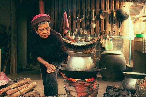 ฟืน, การทำอาหาร, ยาย, ผู้หญิง, เก่า
