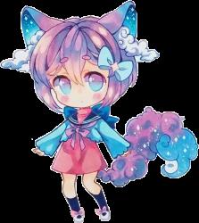 chibi anime wolf galaxy rainbow purple hair chibigirl