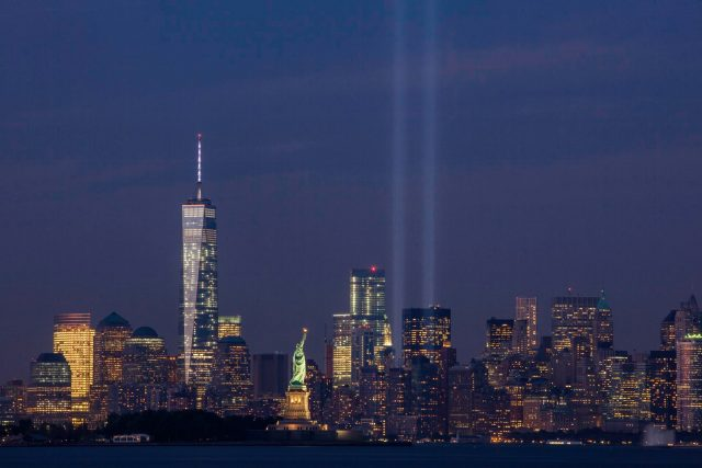 September 11th Tribute in Light from Bayonne New Jersey 640x427 - Twin Shafts of Light Reach Skyward