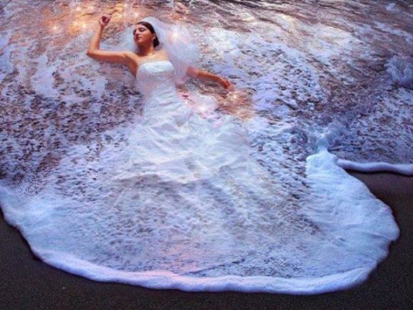 That's one hell of a wedding dress, err I mean ocean.