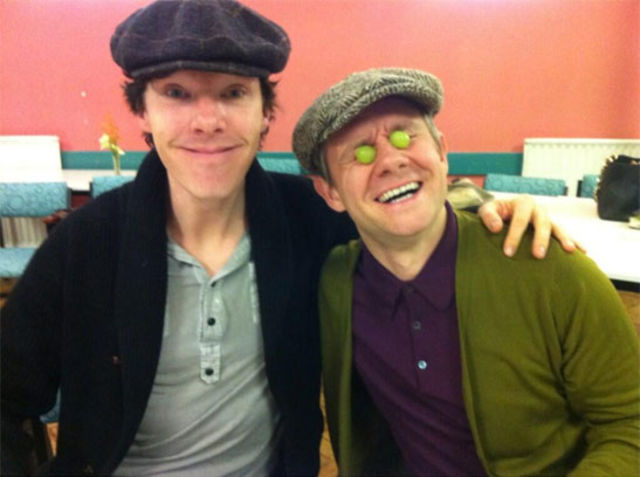 When he and Martin Freeman looked THIS happy to start work on Sherlock