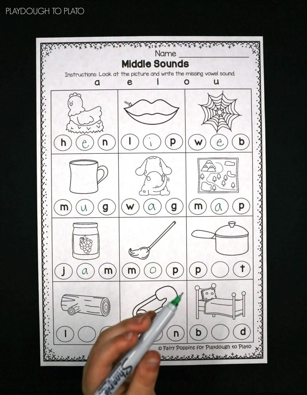 medium resolution of Middle Vowel Activity Sheets - Playdough To Plato