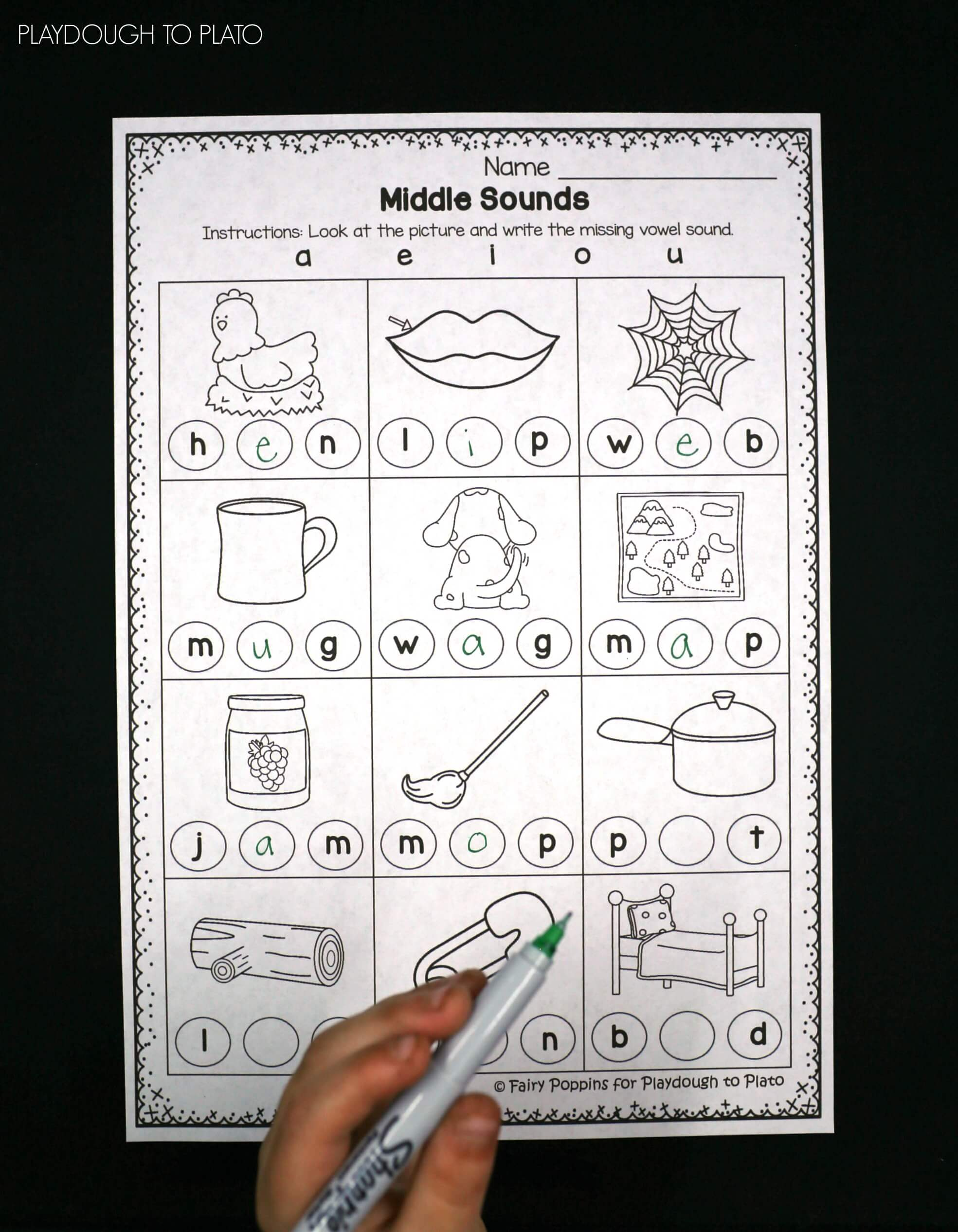 hight resolution of Middle Vowel Activity Sheets - Playdough To Plato
