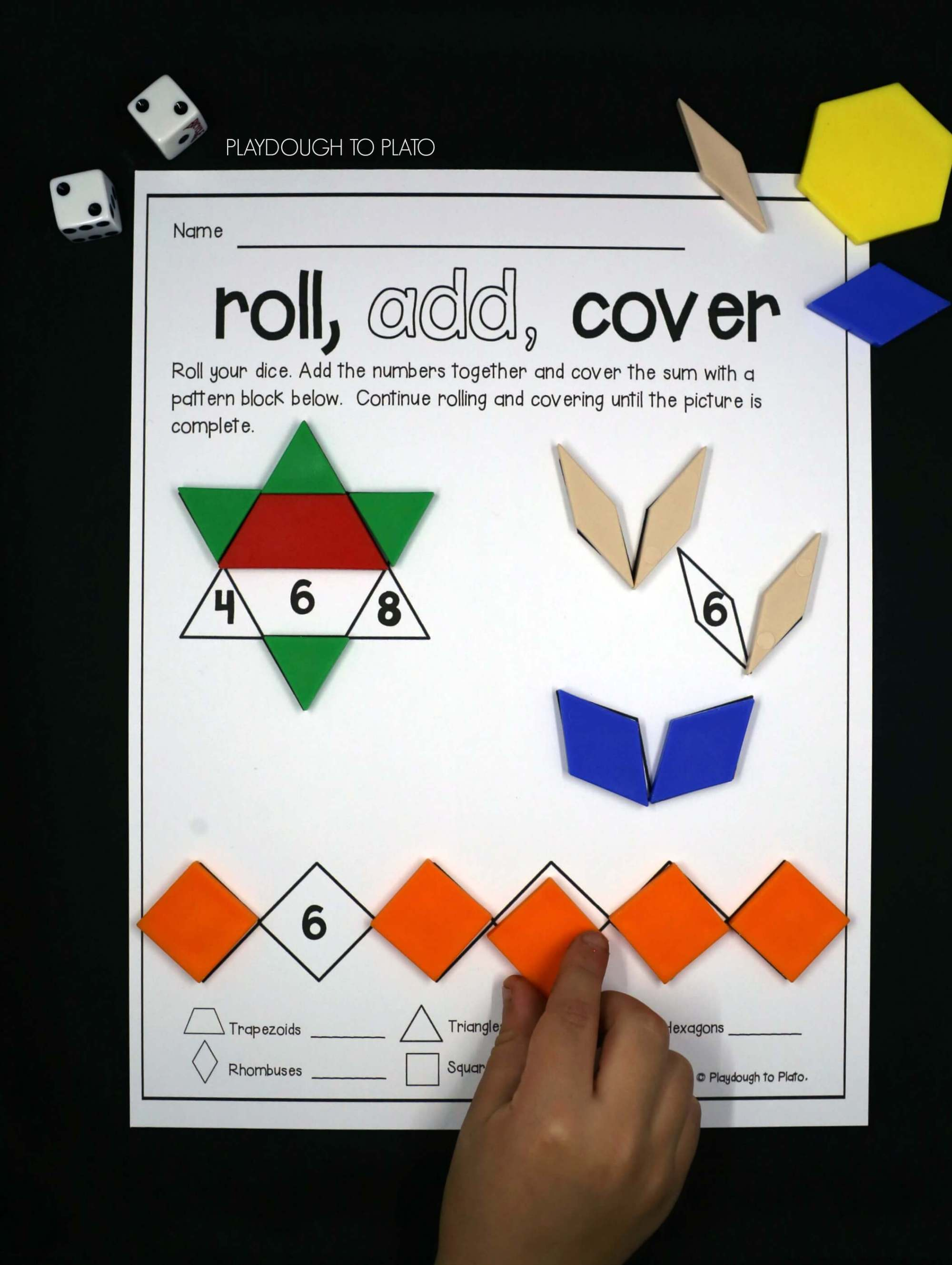 hight resolution of Roll and Cover Pattern Block Mats - Playdough To Plato