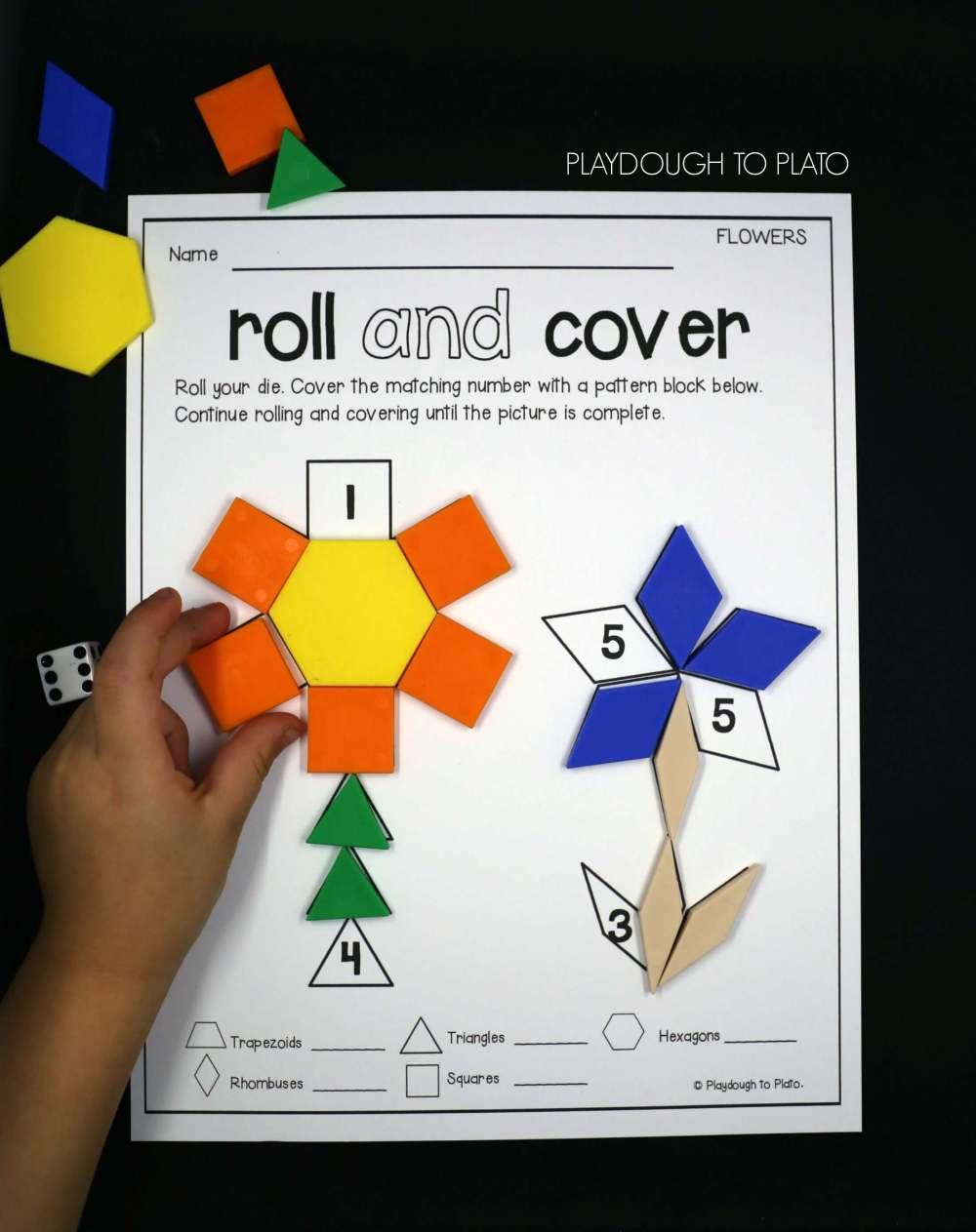 medium resolution of Roll and Cover Pattern Block Mats - Playdough To Plato