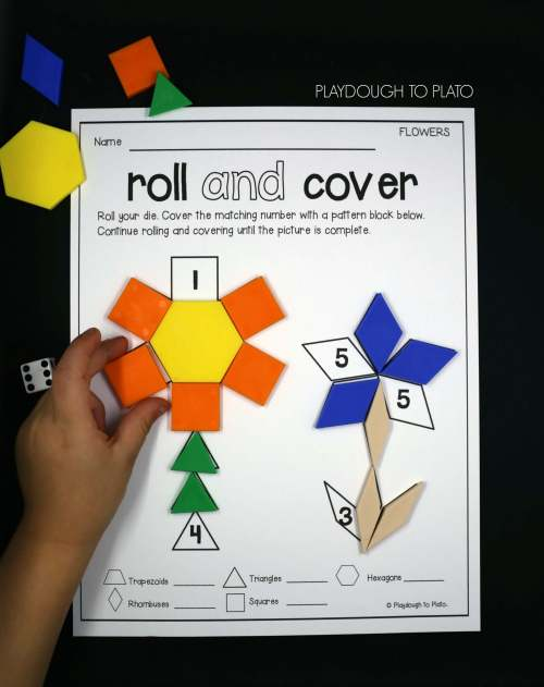 small resolution of Roll and Cover Pattern Block Mats - Playdough To Plato