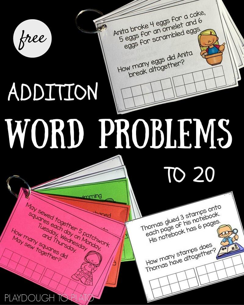 medium resolution of Addition Word Problems to 20   Playdough To Plato