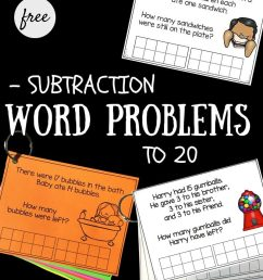Subtraction Word Problems to 20 - Playdough To Plato [ 1000 x 800 Pixel ]