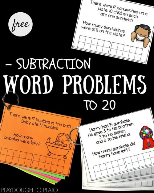 small resolution of Subtraction Word Problems to 20 - Playdough To Plato