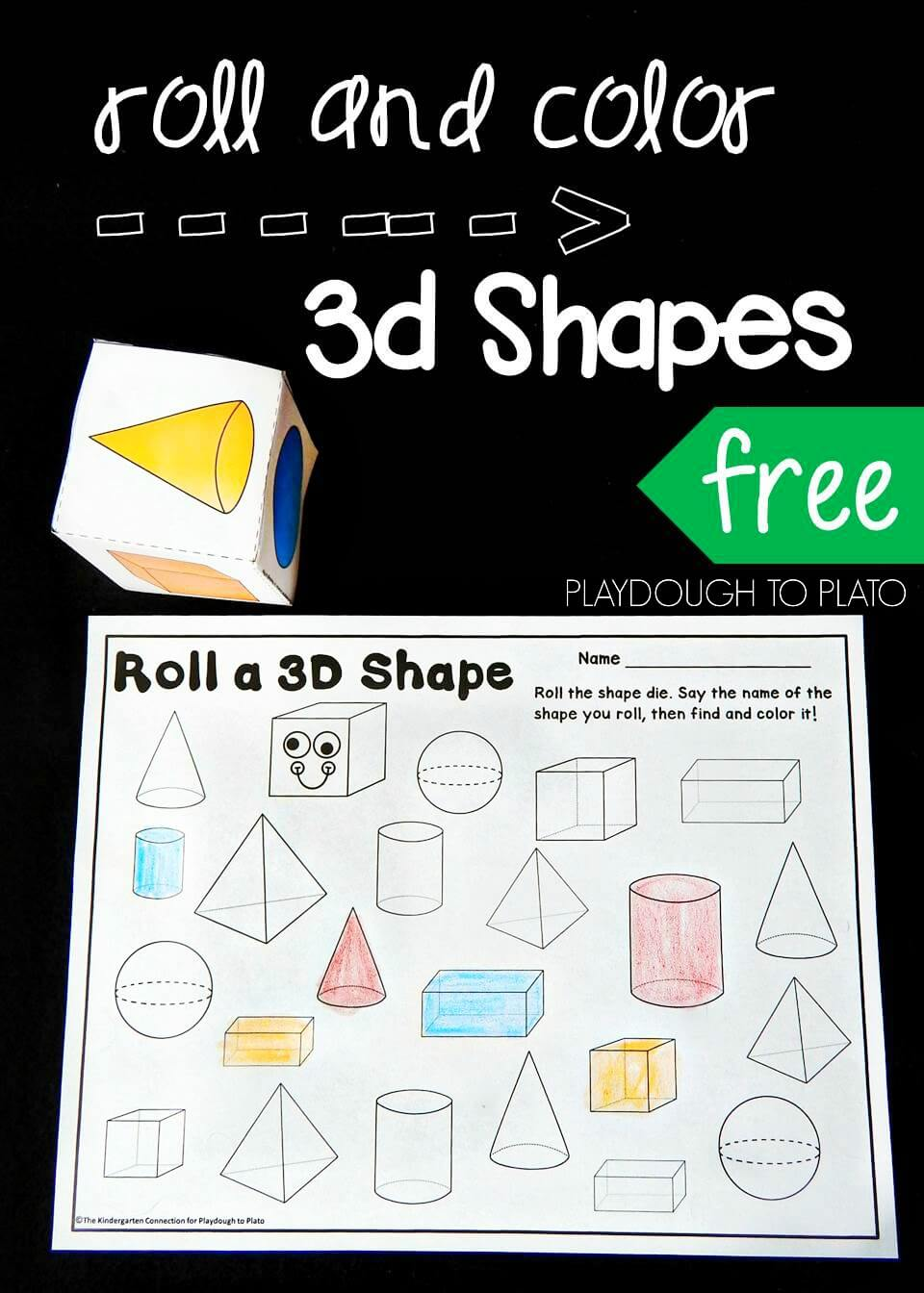 medium resolution of Roll and Color 3D Shapes - Playdough To Plato