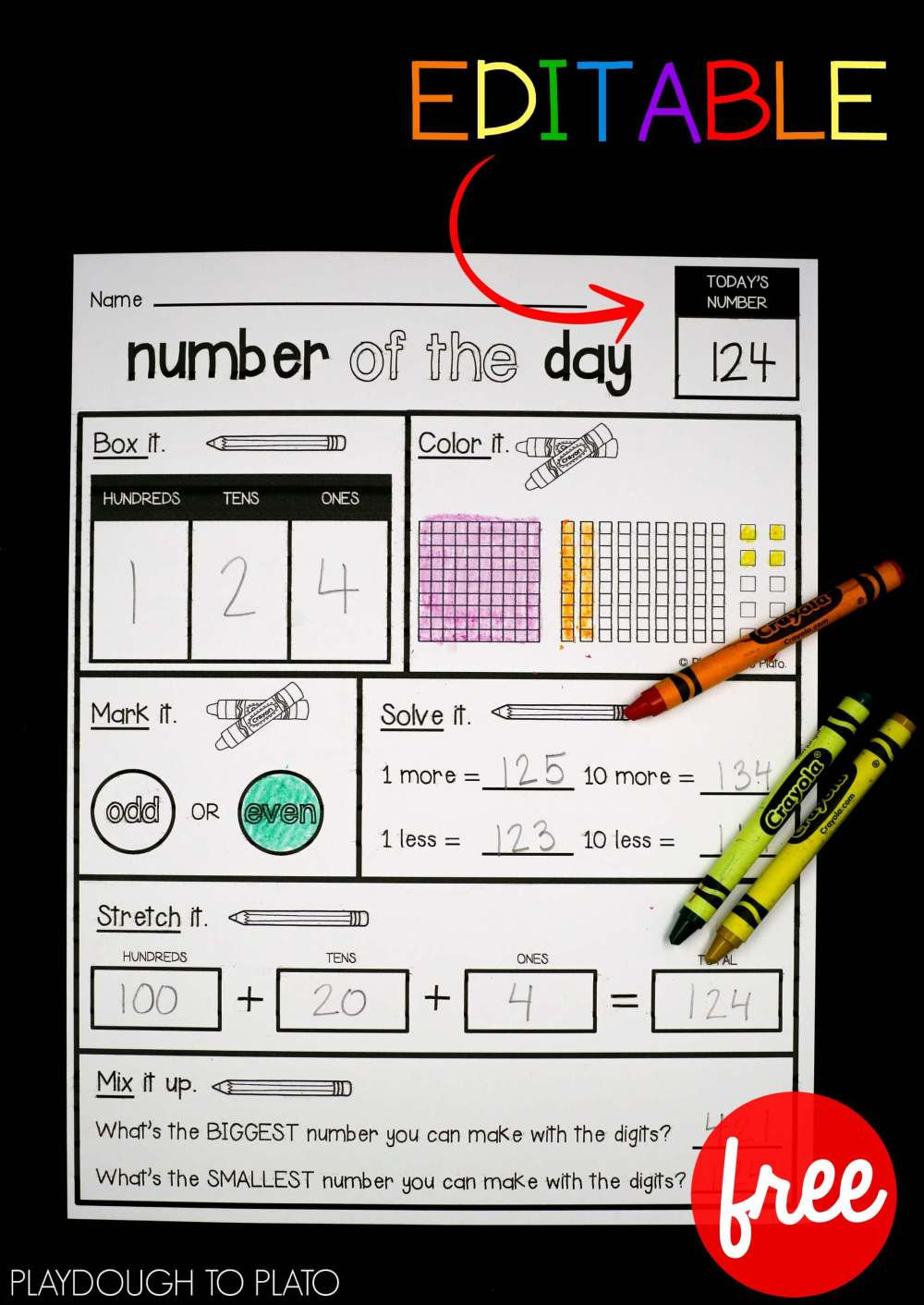 medium resolution of EDITABLE Number of the Day Sheet - Playdough To Plato