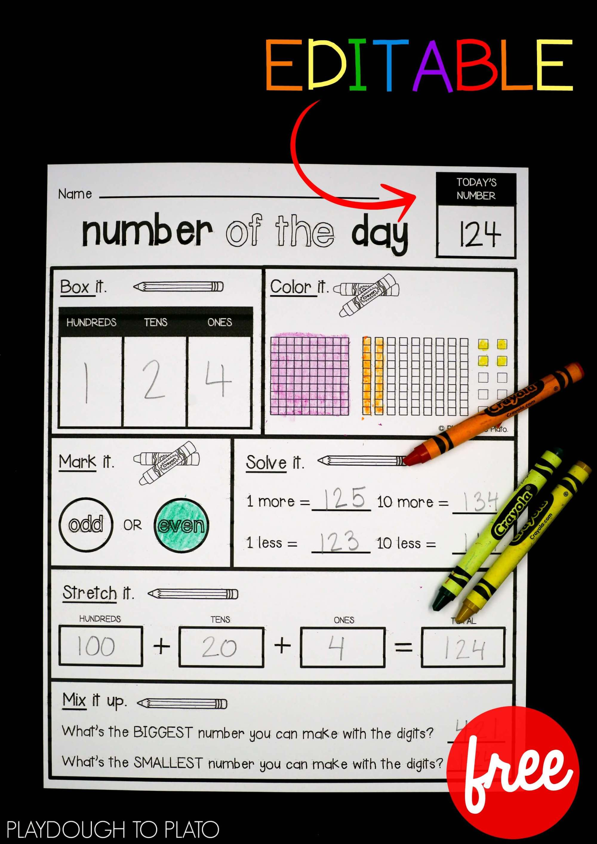 hight resolution of EDITABLE Number of the Day Sheet - Playdough To Plato