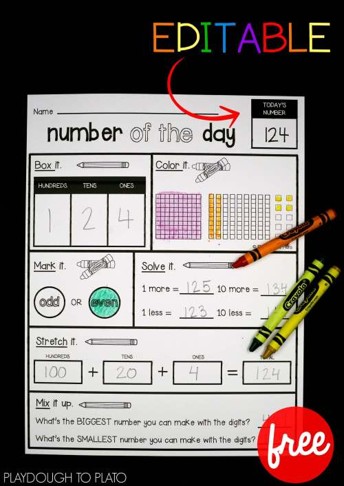 small resolution of EDITABLE Number of the Day Sheet - Playdough To Plato