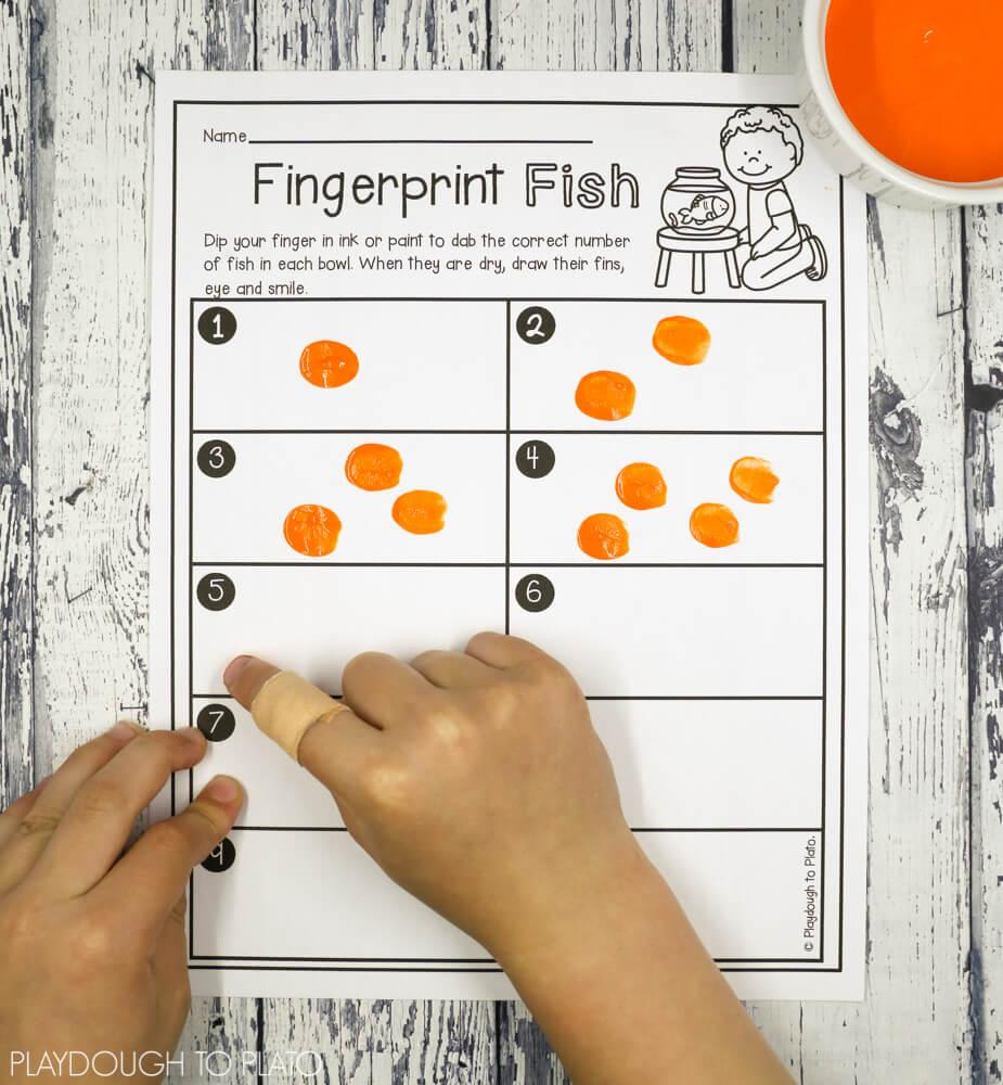 medium resolution of Fingerprint Fish Number Activity - Playdough To Plato