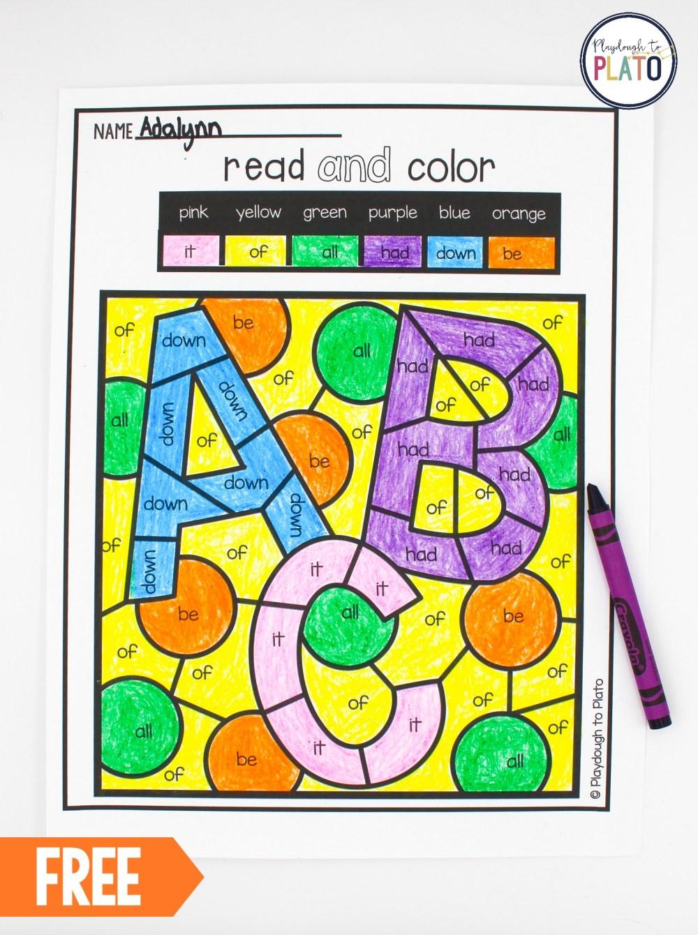 medium resolution of Color by Sight Word - Playdough To Plato