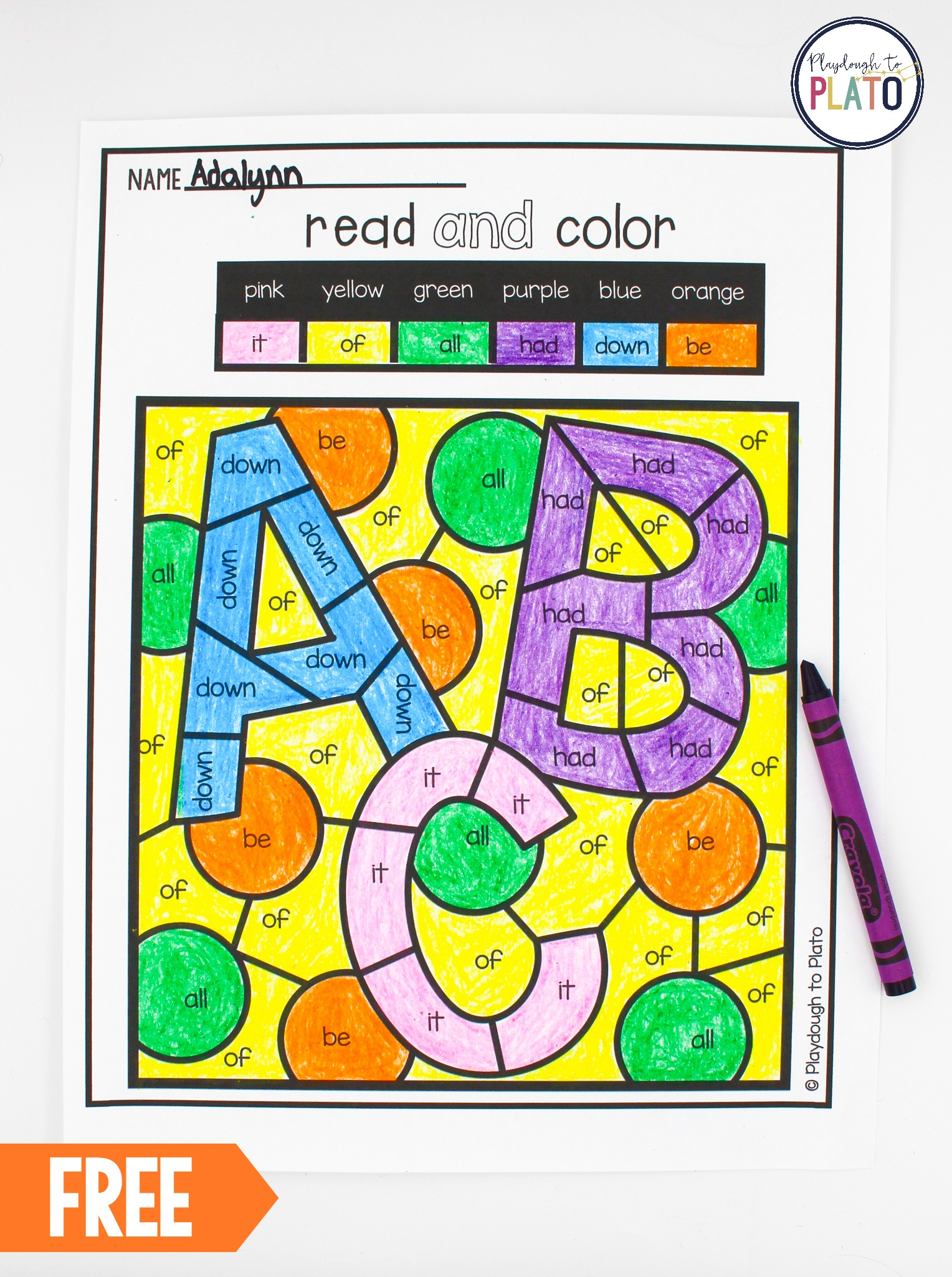 hight resolution of Color by Sight Word - Playdough To Plato
