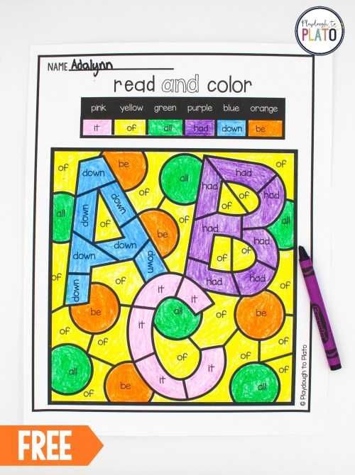 small resolution of Color by Sight Word - Playdough To Plato