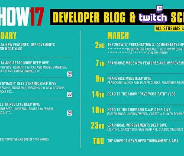 Schedule For Blogs And Twitch Live Streams For Mlb The Show 17 Photo Scea