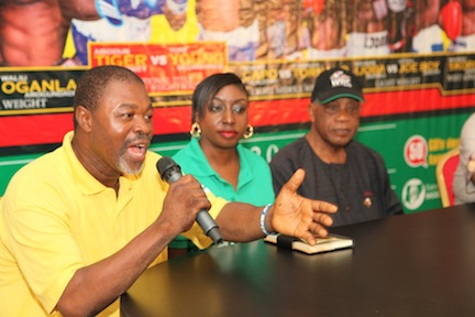 L-R: Former Olympian, Jerry Okorodudu; PR Manager, GOtv Efe Obioma; President, Nigerian Boxing Board of Control, Dr. Godwin Kanu, at the press conference held in Lagos on Monday