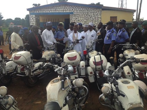 Governor Nasir El Rufai with some motorcycles