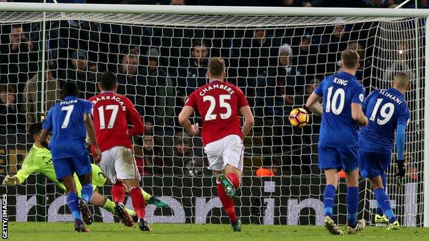 Islam Slimani's penalty took his tally to five goals since he joined Leicester from Sporting Lisbon.