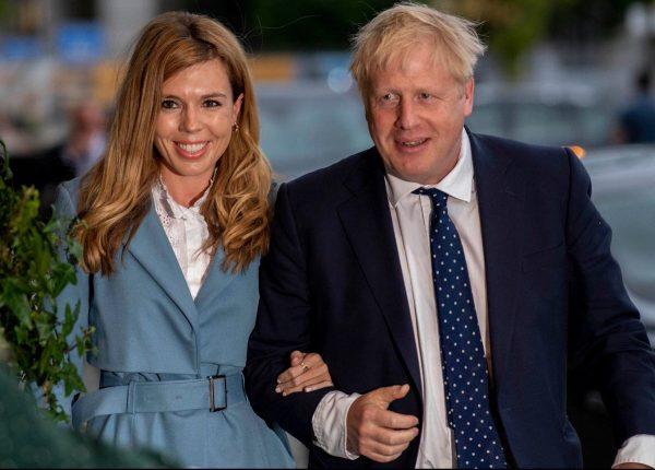 British PM Boris Johnson with his fiancee Carrie Symonds