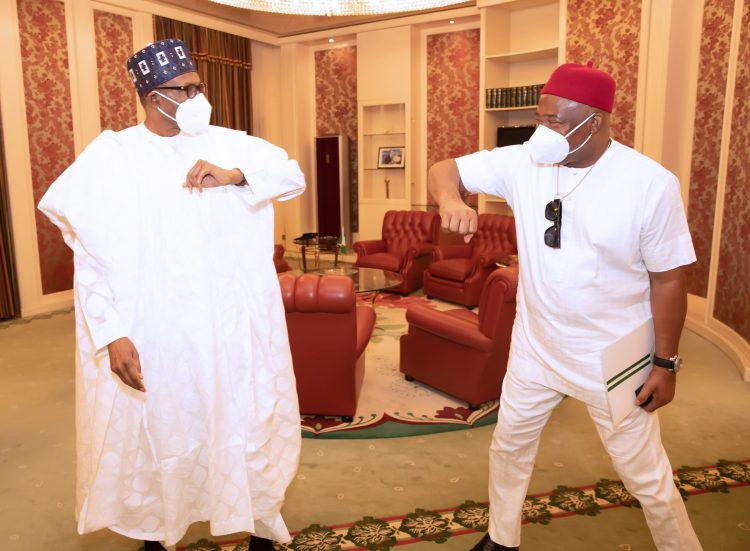 President Muhammadu Buhari meets Imo State Governor, Senator Hope Uzodinma in a 'closed door' meeting at the Presidential Villa Abuja. PHOTO;L SUNDAY AGHAEZE. JAN 18 2021