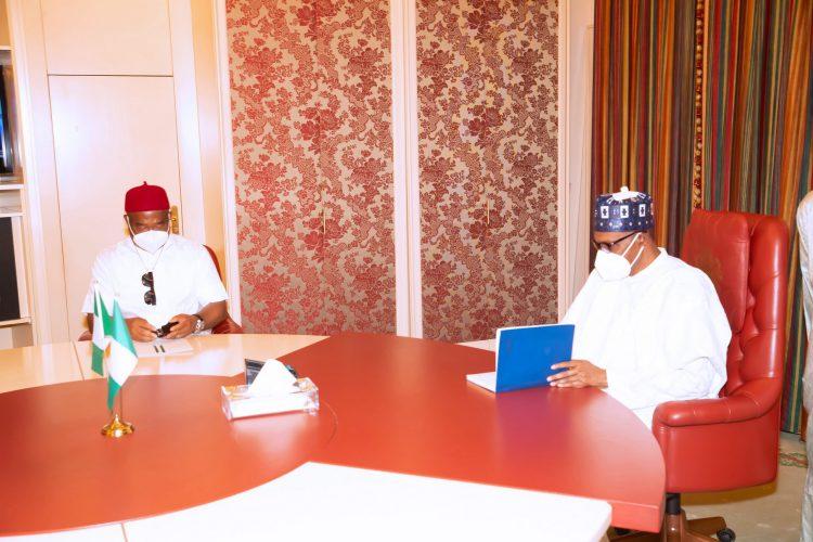 President Muhammadu Buhari meets Imo State Governor, Senator Hope Uzodinma in a 'closed door' meeting at the Presidential Villa Abuja. PHOTO: SUNDAY AGHAEZE. JAN 18 2021