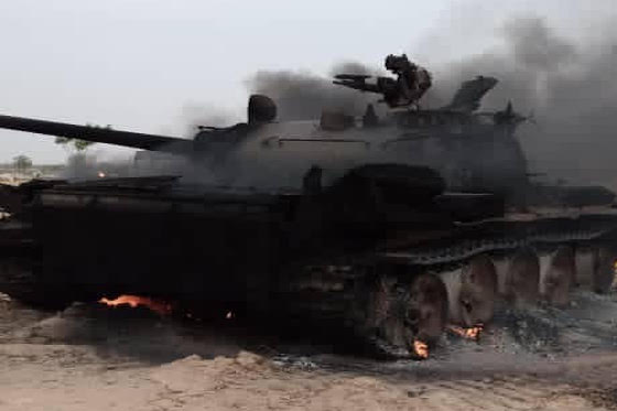 An armoured tank destroyed by ISWAP on Sunday