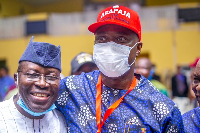 Taofeek Arapaja with Governor Seyi Makinde, narrowly beat Eddy Olafeso as PDP South west chairman