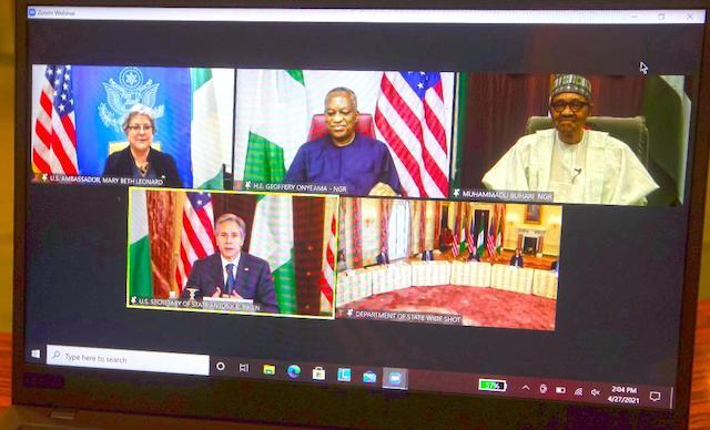 R-L: Buhari, Onyeama, Ambassador Beth Leonard annd Blinken, below