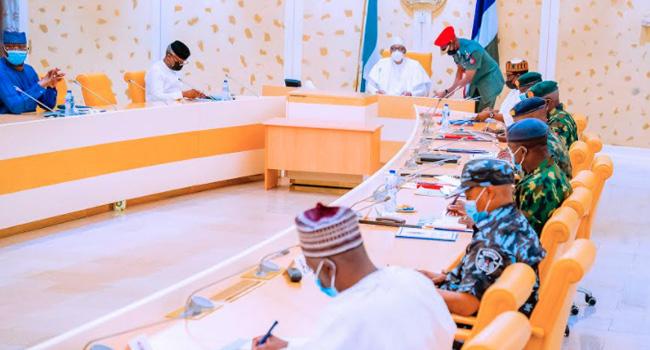 Buhari with VP Osinbajo at the security meeting