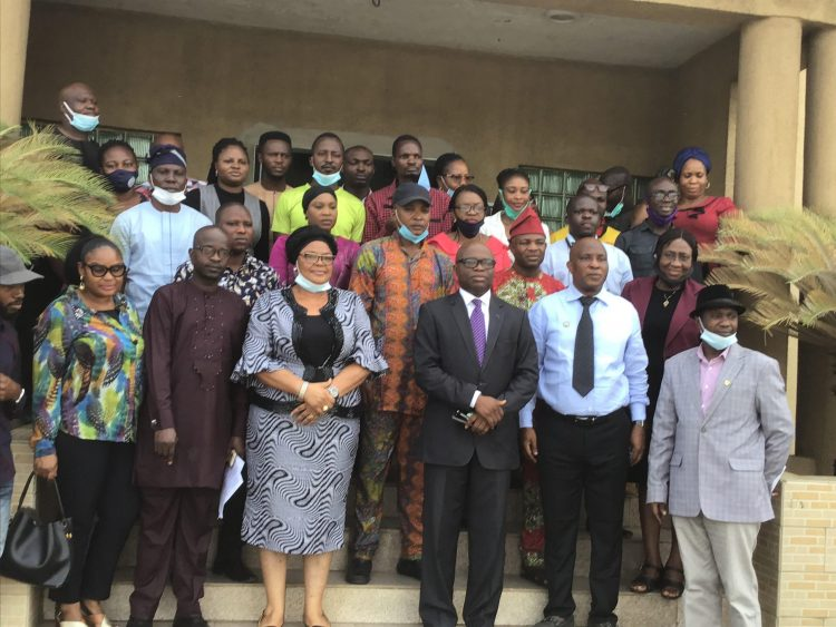 Provost, Lagos State Cooperative College, Akorede Ojomu with other participants and management staff at the training