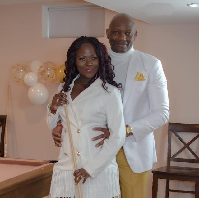 Elizabeth Tutu Coker-Nnam with her husband on her birthday