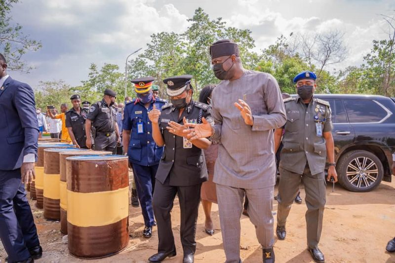 Oyo State Governor, Engr Seyi Makinde at the inauguration of a special security task force on the Ibadan-Ijebu Ode expressway
