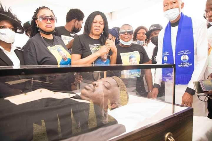 Remains of Yinka Odumakin lying in state at the Police College, Lagos