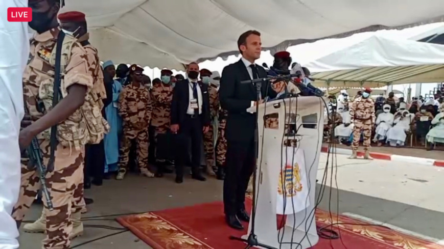 President Emmanuel Macron speaks at the funeral for Idriss Deby Itno in Chad