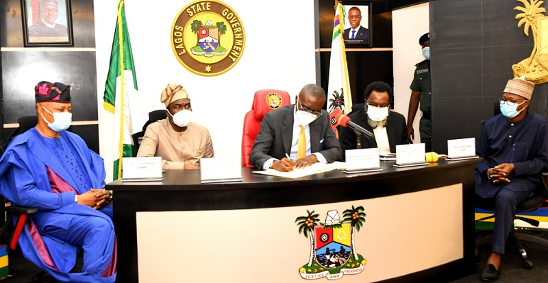 L-R: Chairman, House Committee on Judiciary, Human Rights, Public Petitions & LASIEC, Hon. Victor Akande; Lagos State Deputy Governor, Dr. Obafemi Hamzat; Governor Babajide Sanwo-Olu; Attorney General/Commissioner for Justice, Mr. Moyo Onigbanjo, SAN and Chairman, House Committee on Finance, Hon. Rotimi Olowo, during the signing of Lagos State Lotteries & Gaming Authority and the Public Complaints & Anti-Corruption Commission bills into Law, at the Conference Room, Lagos House, Ikeja, on Monday, April 19, 2021.