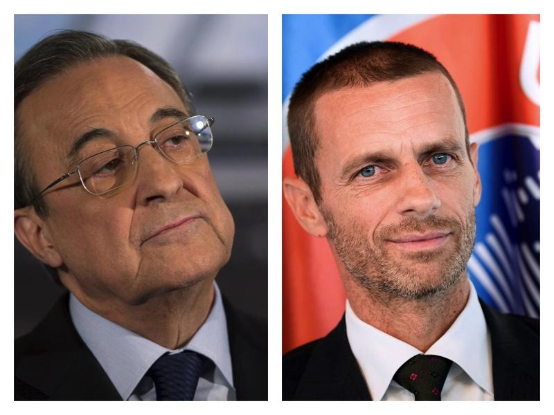 Super League chief Florentino Perez and UEFA President Ceferin
